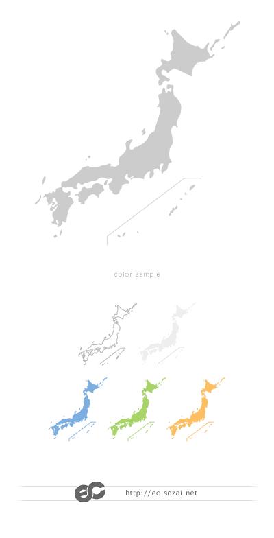 シンプル日本地図素材